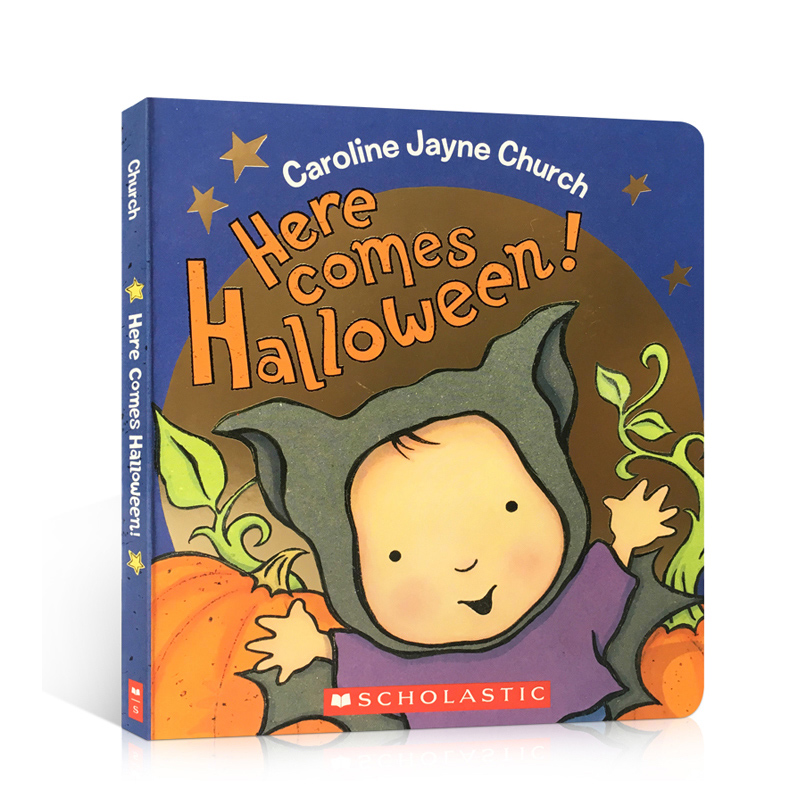 英文原版 Here Comes Halloween! 万圣节来了!Caroline Jayne Church 纸板书 0-3岁幼儿启蒙认知绘本读物 英语入门阅读故事图画书