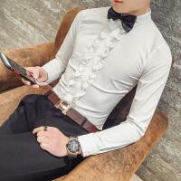衬衫男长袖春装新款礼服衬衣韩版修身法式演出服纯色帅气寸衫