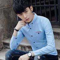 新款2018男士长袖男士个性长袖衬衫春秋季修身衬衣韩版青潮流