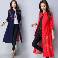 长款风衣秋冬新款民族风女装绣花长袖单排扣中国风外套有里布