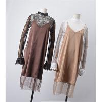 【满】13 秋季韩版新款V领纯色无袖百搭吊带连衣裙