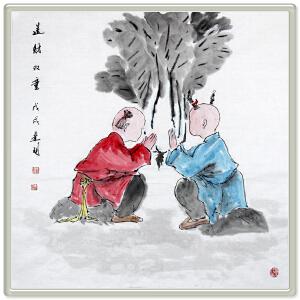 《送财双童》邢建明 辽宁美协会员 盘锦美协理事【A00ML3265】