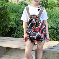 阎双创造 新款民族风专柜女包 2093-3大鸭嘴韩版丝光棉麻帆布包 大容量旅行运动背包学生书包