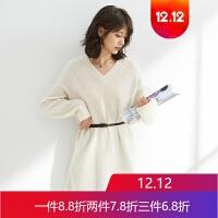 秋冬新品羊绒衫色宽松V领中长款羊绒毛衣女 奶白OSL074