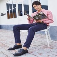骆驼牌商务休闲皮鞋男真皮软底青年男士低帮韩版系带英伦尖头鞋子