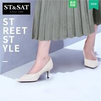 星期六秋羊皮浅口尖头猫跟高跟社会女鞋单鞋SS81111295