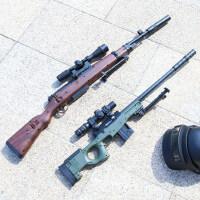 AWM*巴雷特绝地吃鸡模型求生98k狙击抢可发射手动儿童玩具枪