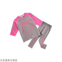 冬季女童套装 秋装2018新款韩版中长款T恤+打底裤洋气两件套 儿童套装秋冬新款 黄色 现货