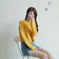 慈姑春季女装韩版花朵刺绣喇叭袖长袖短款套头卫衣2018新款学生上衣潮 均码 (160/84A)