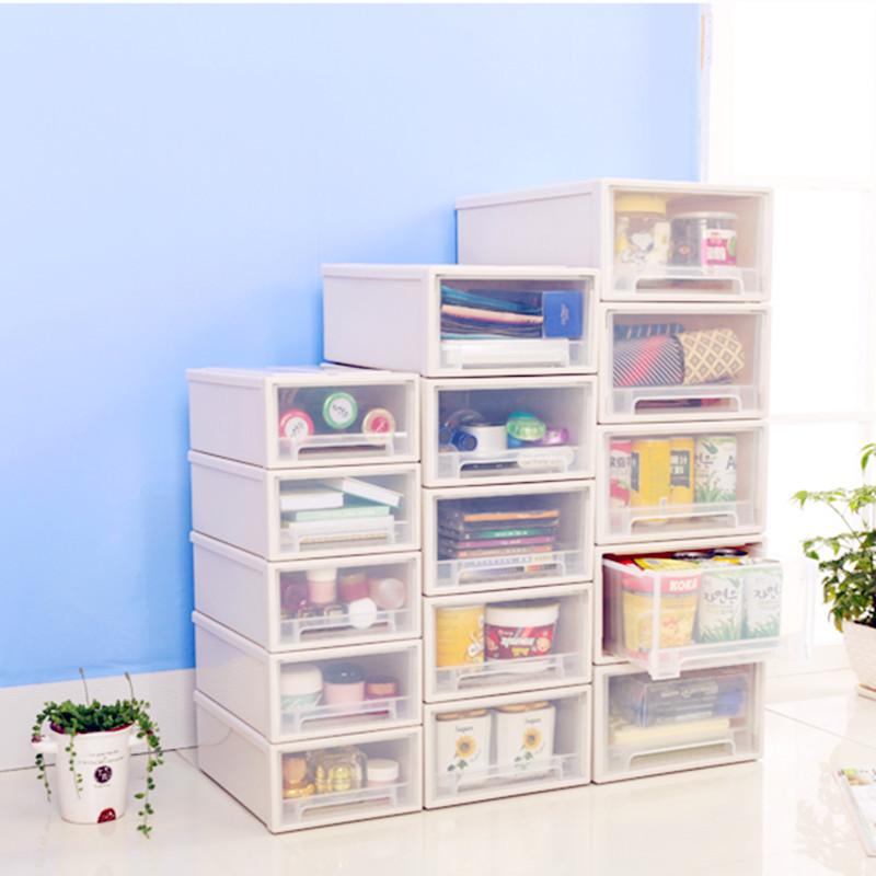 幽咸家居组合可叠加透明桌面塑料抽屉式收纳盒儿童收纳柜收纳箱