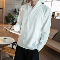 中国风男装交领汉服中式盘扣衬衫大码纯棉上衣长袖复古风禅修服装