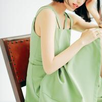 无袖连衣裙女夏季设计修身复古双吊带中长款纯色连衣裙女中长裙