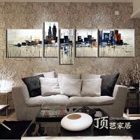 客厅装饰画沙发背景墙挂画卧室餐厅手绘画五联画抽象油画城市特价SN7997 如图 尺寸4 净总宽3.2米 标价为整套价格
