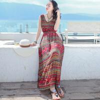 夏季新女装裙子修身无袖雪纺连衣裙波西米亚长裙海边度假沙滩裙 红色条纹 X237