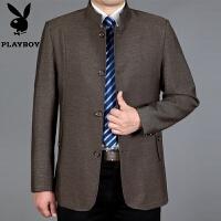 春秋中年男士夹克商务休闲立领爸爸装中长款修身外套