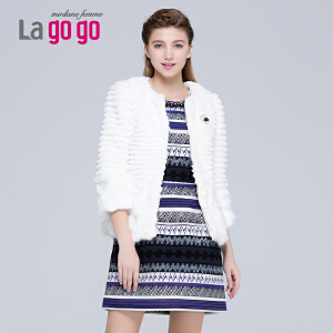 lagogo冬季新款白色圆领仿皮草外套女小香风短款百搭上衣
