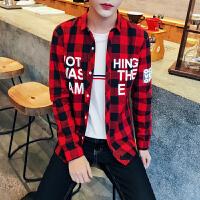秋季格子衬衫男长袖青少年修身学生韩版男士 休闲衬衫印花寸衫