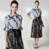 夏季新款连衣裙女 翻领衬衫裙+蕾丝半身裙两件套套装裙