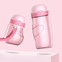 汉馨堂 儿童水壶 亲子水壶套装儿童学生学饮手柄吸管杯便携带提绳创意带盖