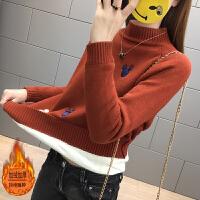 毛衣女士加绒加厚秋冬装短款韩版半高领打底衫长袖新款时尚百搭潮
