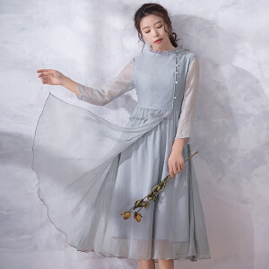 烟花烫尔叙 2018夏装新款女装气质修身荷叶边中长款连衣裙 星�h