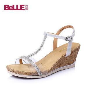 Belle/百丽夏羊皮革知性优雅坡跟女凉鞋3RME5BL6