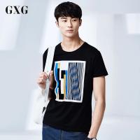 GXG短袖T恤男装 夏季斯文潮流气质青年男士时尚休闲黑色圆领短袖T恤