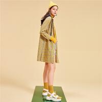 【一口价 139元】韩版格子时尚连衣裙女2019秋季新款宽松显瘦学生长袖中长款外套