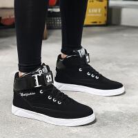 高帮男士滑板鞋青年运动休闲男鞋子韩版潮流平板鞋男黑白百搭学生