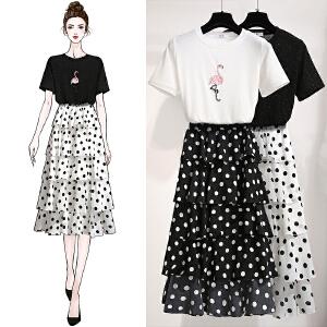 安妮纯波点雪纺蛋糕裙两件套女2020夏新款法式显瘦网红小个子女神套装裙