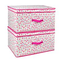 优芬大号有盖覆膜防水衣服收纳箱 72升被子棉被储物箱整理箱 衣物收纳盒 红桃心60*40*30cm