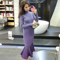 2018春新款气质名媛套装女紫色长袖针织上衣+修身鱼尾裙两件套潮