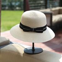 韩版夏天小礼帽子潮女英伦草帽 复古蝴蝶结圆顶遮太阳沙滩帽子 可调节