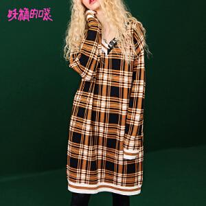 【低至1折起】妖精的口袋女士长袖连衣裙秋装2018新款V领格子学院风复古裙子