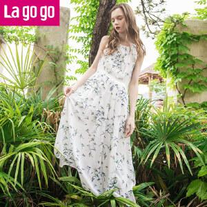 Lagogo2017夏季新款无袖印花连衣裙女长款收腰裙子显瘦雪纺长裙