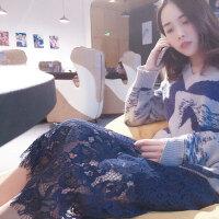 春夏女装韩版蕾丝裙一步裙半身裙包臀长裙裙子夏中长款蕾丝打底裙 均码
