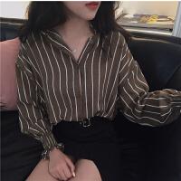 韩版2018春装新品宽松显瘦百搭撞色条纹长袖衬衫女单排扣开衫上衣