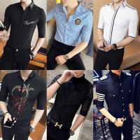 潮流个性男装夏薄款中袖衬衣帅气短袖男韩版修身七分袖发型师衬衫