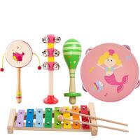 木质拨浪鼓 0-1岁2-3-6-12个月宝宝男女孩新生儿童婴儿玩具 (拨浪鼓、沙球、摇铃、手鼓、八音敲琴)五件套
