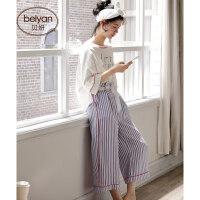 春季纯棉女士睡衣时尚七分袖女人家居服韩版宽松大码全棉套装 C2760 图色