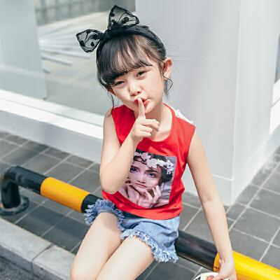女童无袖背心夏装新款 中小儿童洋气T恤宝宝蕾丝上衣潮