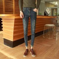 新品2018春新款男装牛仔裤修身小脚青年长裤 小码26 27码帅气显瘦
