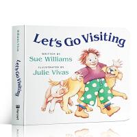 英文原版 Let's Go Visiting 让我们去参观 幼儿启蒙纸板图画书 I went walking 同作者朗朗上口 动物认知亲子共读 3-6岁