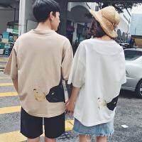 情侣装夏季短袖男女学生宽松百搭bf风T恤卡通可爱刺绣韩版夏装潮