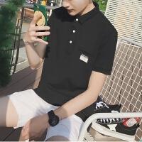 夏季翻�I短袖t恤 男加大�a日系潮流男�w恤polo衫棉�|�色青年半袖