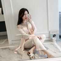 春秋季新款条纹性感睡衣女士吊带文胸仿真丝绸长袖长裤睡袍四件套