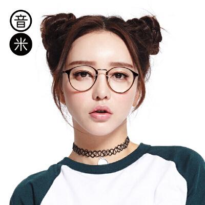 inmix音米复古文艺眼镜框女无镜片框架配学生近视眼镜男超轻圆框平光镜轻盈 强韧性 不变形