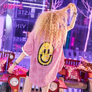 妖精的口袋新款chic原宿风短袖格子衬衫女