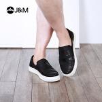 jm快乐玛丽乐福鞋春季编织条纹休闲套脚增高乐福鞋男鞋