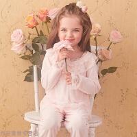 冬季儿童睡衣秋季女童公主蕾丝可爱奥尔秋冬家居服睡衣套装秋冬新款 粉红色 柔粉色